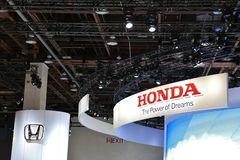 New 2018 Honda vehicles on Display at the North American International Auto Show. New Vehicles unveiled and displayed at the North American International Auto Royalty Free Stock Photos