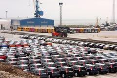 New Hondas in stock at a port stock photos