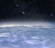 New horizons. A view from the orbit of alien planet Stock Photography