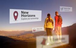 New Horizons voyagent explorent le concept de position photos libres de droits