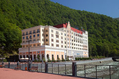New hotel in caucasus mountains Stock Photography