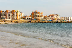 The new hotel complex on the Black Sea coast in Bulgarian Pomorie royalty free stock images