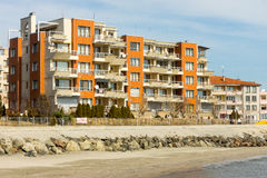The new hotel complex on the Black Sea coast in Pomorie, Bulgaria royalty free stock photos