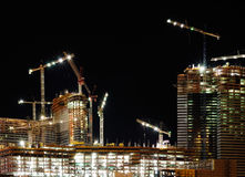 New hotel construction at night Stock Images