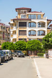 New hotel in the Ravda, Bulgaria. Ravda - ancient Bulgarian seaside town famous discoveries of ancient Slavic settlements. Located on the past in the Black Sea royalty free stock photo