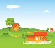 New house. Vector illustration of new houses in the rural locality Stock Image