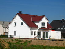 New house. New constructed house in a new district Royalty Free Stock Image