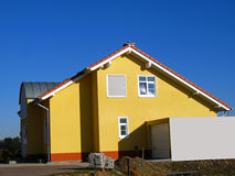 New house. New constructed, yellow family - house in a new district Royalty Free Stock Photo