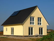 New house. New constructed yellow family - house in Germany Stock Photos