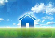 New house. Blue sky green grass concept illustration Stock Images