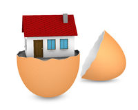 New house. One broken egg with a house inside it (3d render Stock Illustration