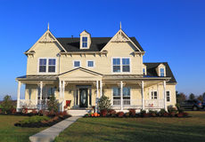 New House. With pumpkin decoration on sunny blue sky Royalty Free Stock Photo