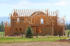 New house. A homes in various stages of construction Stock Image