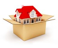 New house in box. New house in the box real estate conceptual 3d illustration Stock Photo