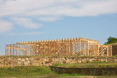 New house under construction. It is a new house building under construction in countryside, TX USA Royalty Free Stock Images