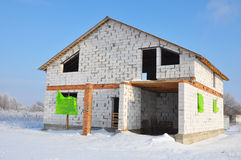 New House building from  autoclaved aerated concrete blocks. Stock Photography