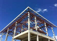 New house building with steel and concrete structure stock photography