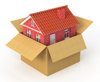 New house in the cardboard box Royalty Free Stock Photo