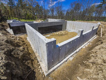 New house concrete foundation Royalty Free Stock Images