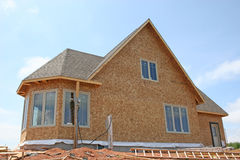 New House Construction 1. A spec home in part of the construction phase royalty free stock photos