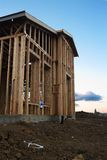 New House Construction. Framing with clouds in background Royalty Free Stock Image