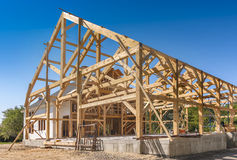 New House Construction. Post and beam framing Royalty Free Stock Photography