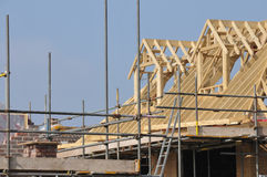 New house construction. House building on brownfield site royalty free stock image