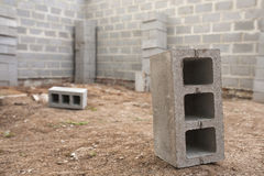 New house construction, building foundation walls using concrete blocks, copy space Stock Photo