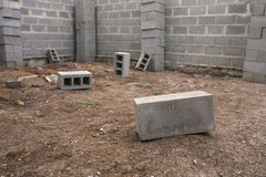 New house construction, building foundation walls using concrete blocks, copy space Stock Images