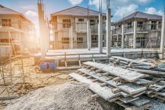 New House construction in building site. Background Stock Image