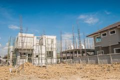 New House construction in building site. New House construction in house building site Stock Photos