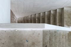 New house construction with concrete staircase at building site. New house construction interior with concrete staircase at house building site Stock Photography