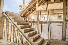 New house construction with concrete staircase. New house construction interior with concrete staircase at building site Royalty Free Stock Photography
