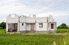New House Construction. New family house under construction in rural environment Stock Photos