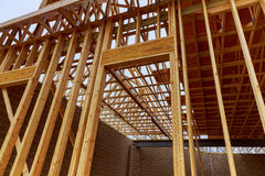 New house construction with frame. New construction of a house Framed Stock Photography