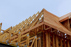 New house construction with frame. New construction of a house Framed Royalty Free Stock Images