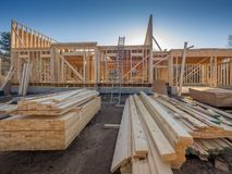 New house construction framing Royalty Free Stock Images