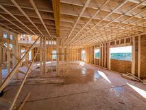 New house construction interior framing Stock Photos