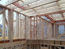 New house construction in new community. Interior of a new house construction background Stock Photography