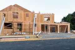 New House Construction in North America Subdivision Stock Photo