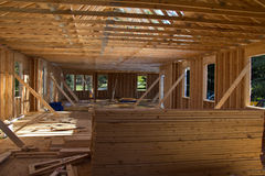 New house construction in progress. Framing stage Stock Image