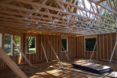 New house construction in progress. Framing stage Royalty Free Stock Photography