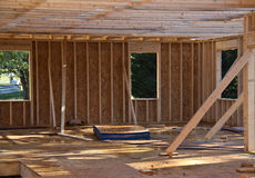 New house construction in progress. Framing stage Royalty Free Stock Image