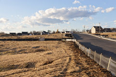 New house construction site. With silt fence stock photos