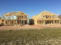 New house construction sites in community Royalty Free Stock Image