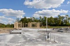 New house construction on slab foundation Stock Photos