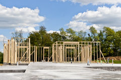 New house construction on slab foundation Royalty Free Stock Photos