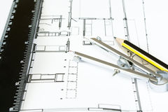 New house design. With ruler pencil and drawing compass Stock Photography