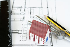 New house design. With ruler pencil and drawing compass Stock Photos