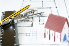 New house design. With ruler pencil and drawing compass Stock Photo
